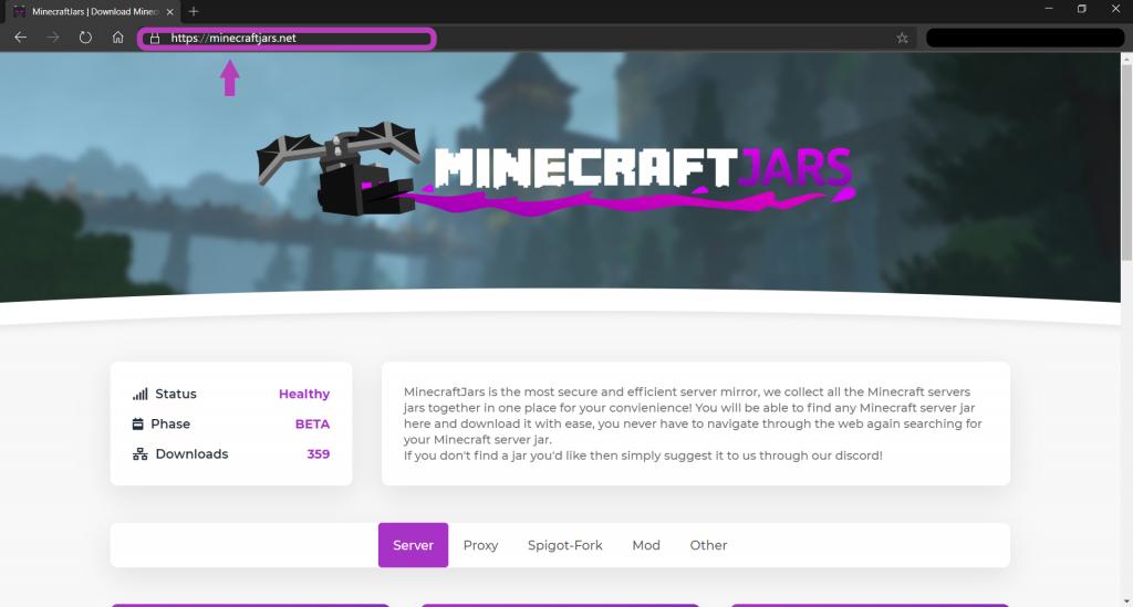 minecraftjars.net website entry