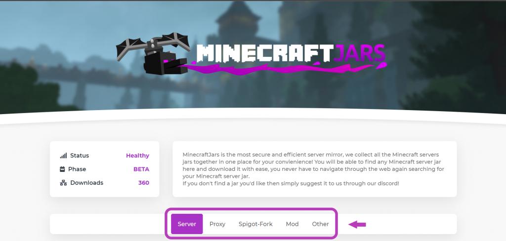 categories of jar files on minecraftjars