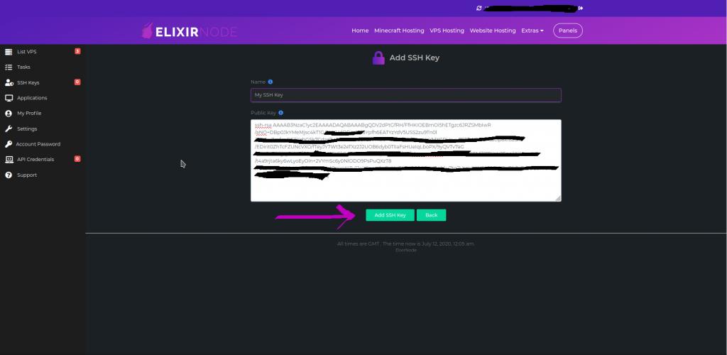 vps panel adding ssh key