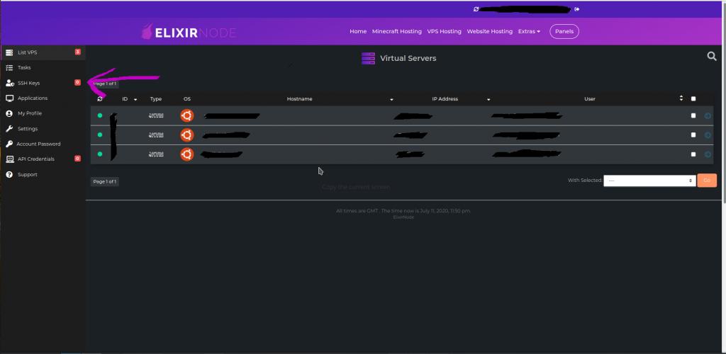 vps panel ssh keys