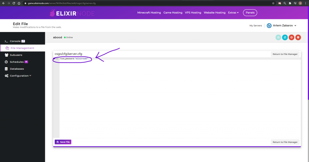 Editing server.cfg for csgo rcon password