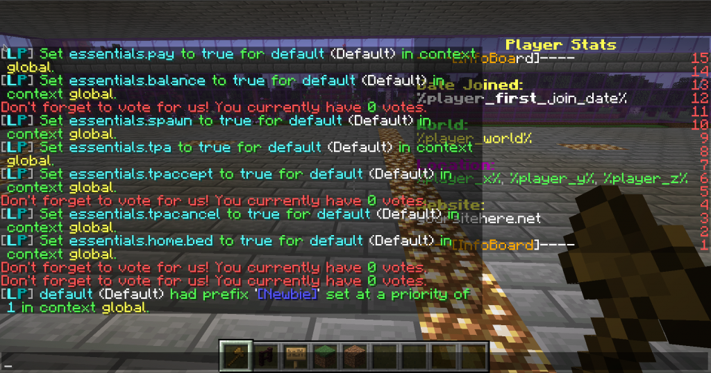 Setting permissions on the server for the default group along with the prefix using the /lp group command. Luckperms also works great on minecraft server hosting with mods