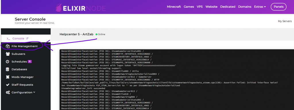 file management button on elixirnode game panel