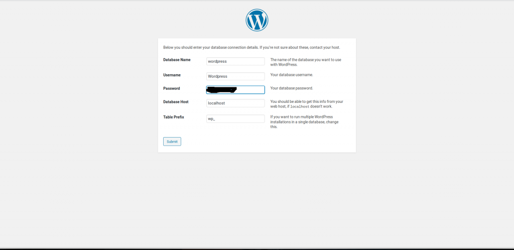 WordPress select database information and test connection