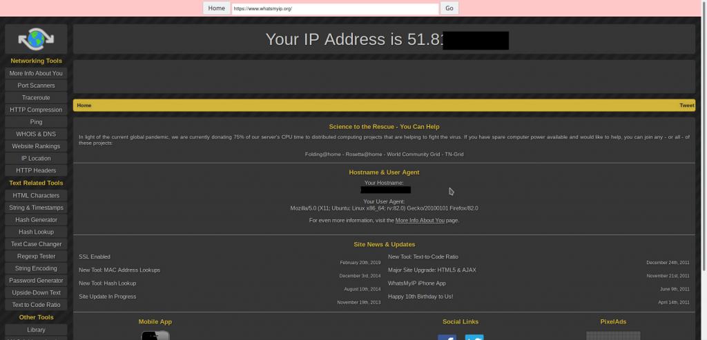 IP address of the web proxy