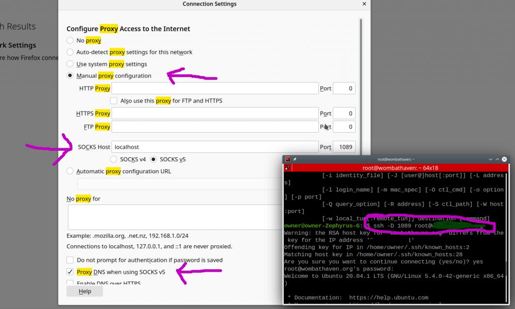 SSH-SOCKS5 Proxy setup