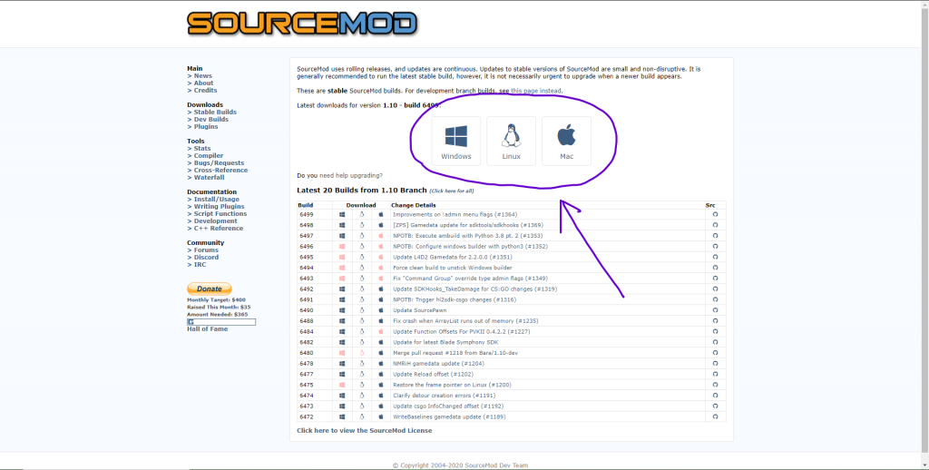 SourceMod download page