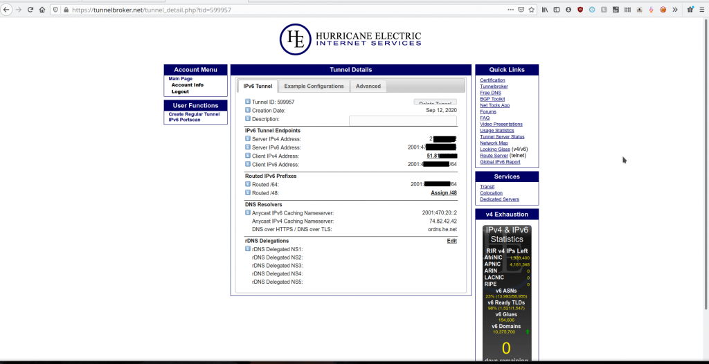 IP tunnel page with all the information about the IPv4 endpoints and available IPv6 addresses