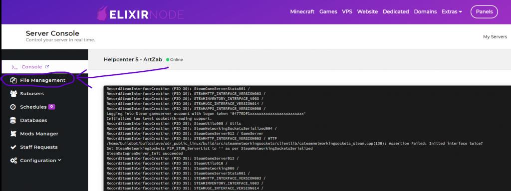 "Game panel menu ""File Management"" button"