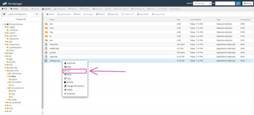 Editing the litebans UI settings.php file