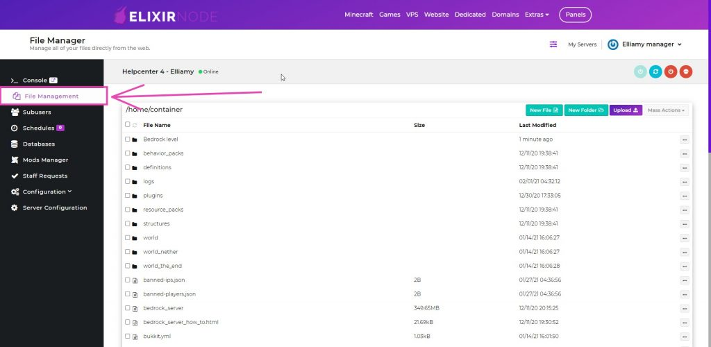 File manager page