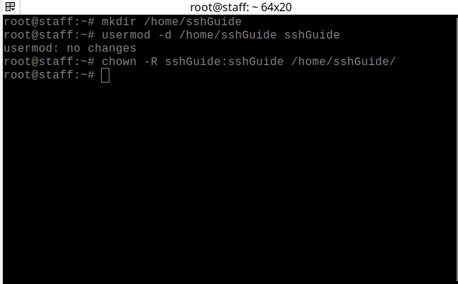 Creating a home directory for the new SSH user using the commands mentioned above