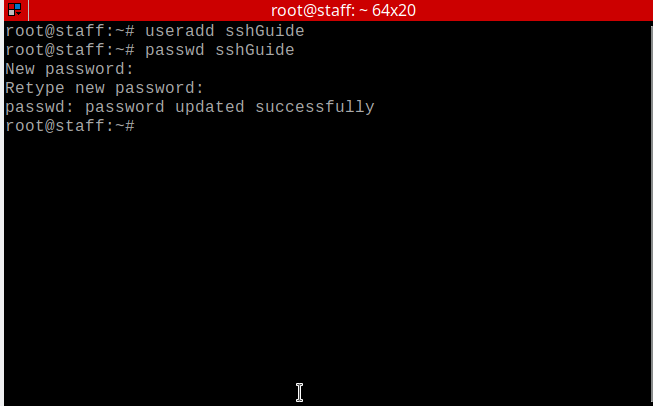 running the useradd and passwd commands on the VPS running on ElixirNode's VPS hosting.