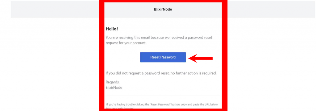 reset password button in email